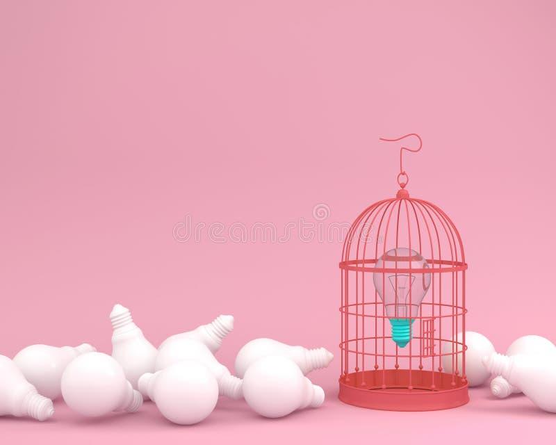 Idea light bulb locked in vintage bird cage on pastel pink background wait for unlock. minimal idea concept of freedom royalty free illustration