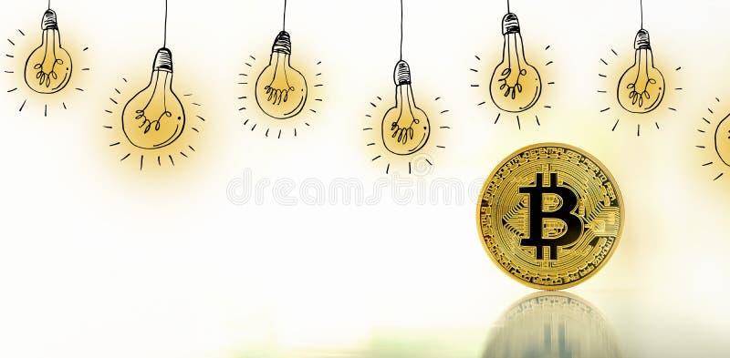 Idea light bulbs with bitcoin. Idea light bulbs with gold bitcoin cryptocurrency coin royalty free stock image