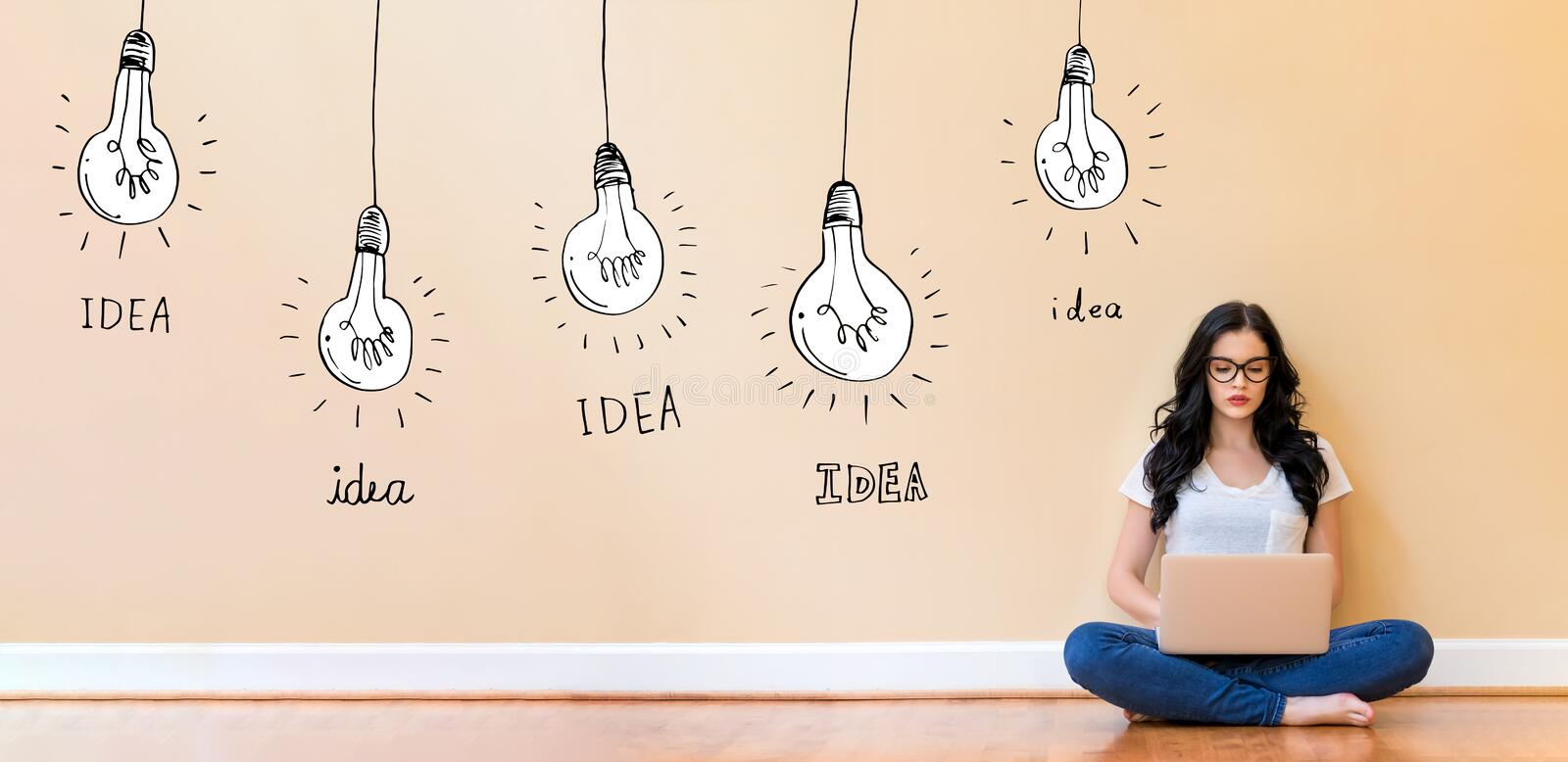 Idea light bulbs with woman using a laptop. Idea light bulbs with young woman using a laptop computer stock illustration