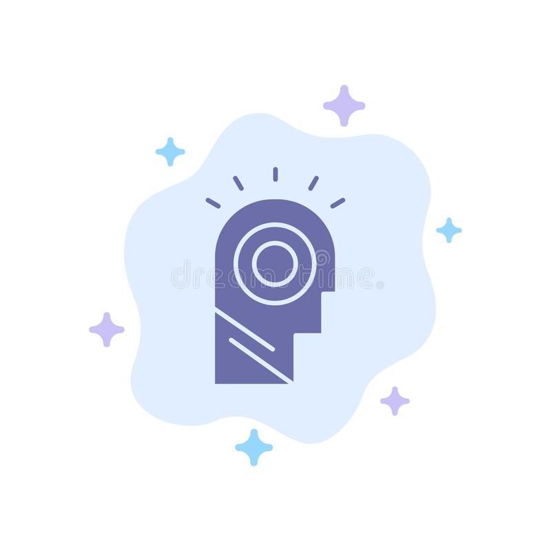 Idea, Light, Man, Hat Blue Icon on Abstract Cloud Background stock illustration