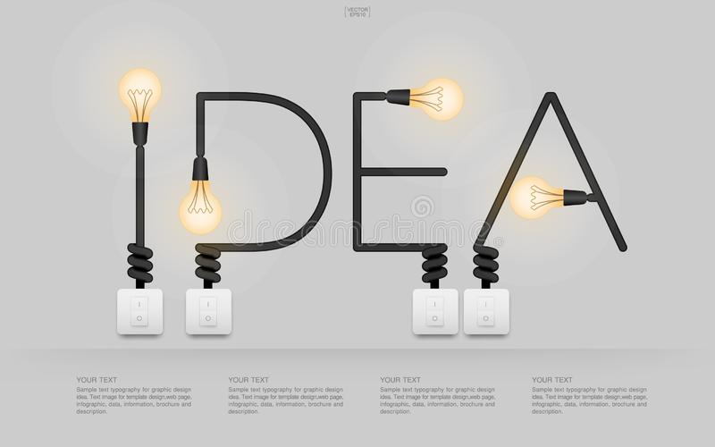 `Idea` Linear alphabet of light bulb and light switch on white background. royalty free illustration
