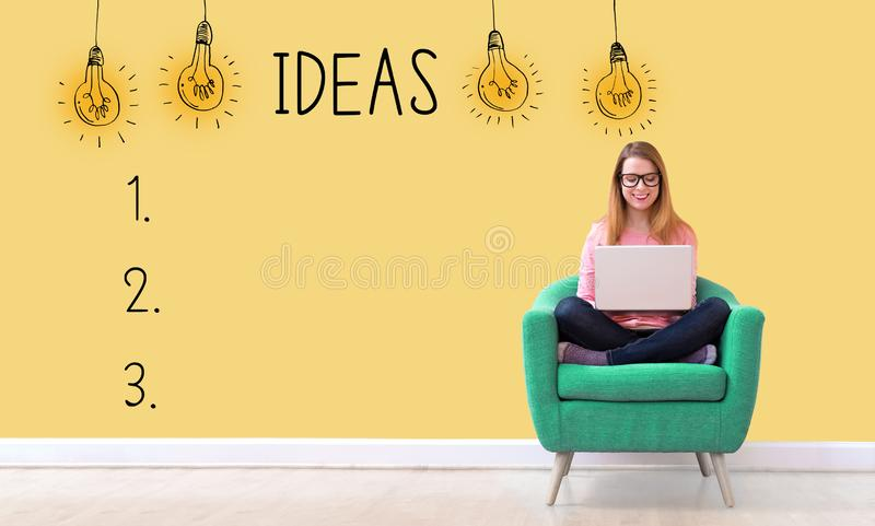 Idea list with woman using a laptop royalty free stock photo