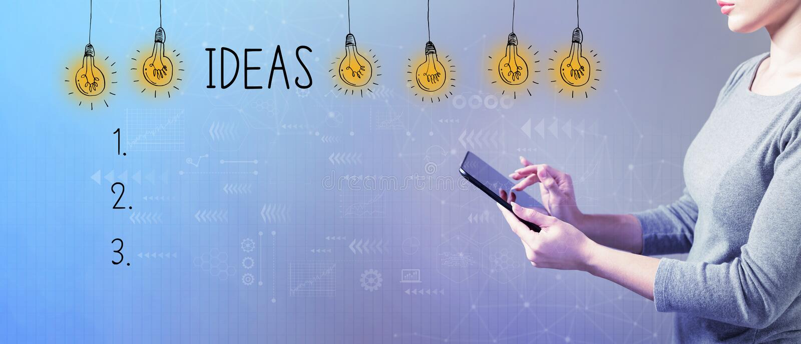 Idea list with woman using a tablet royalty free stock image