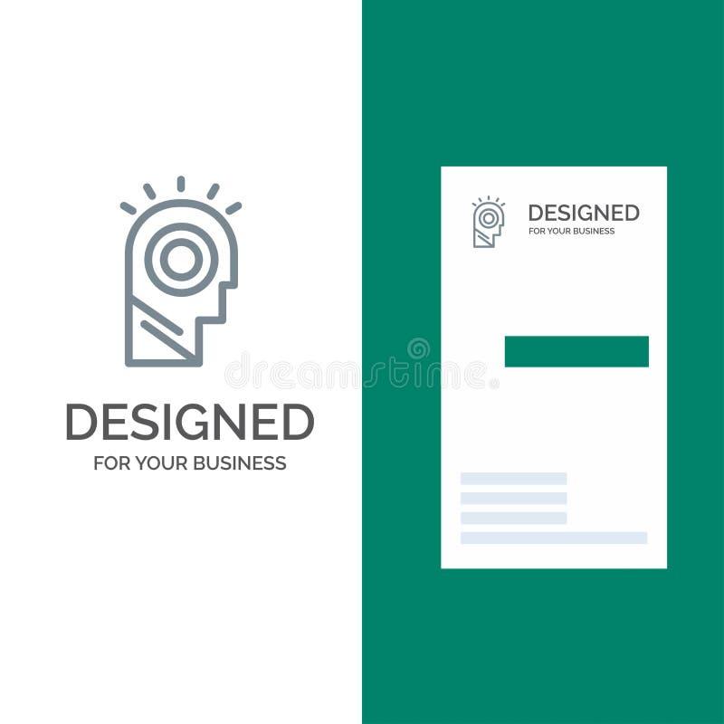 Idea, luce, uomo, cappello Grey Logo Design e modello del biglietto da visita royalty illustrazione gratis
