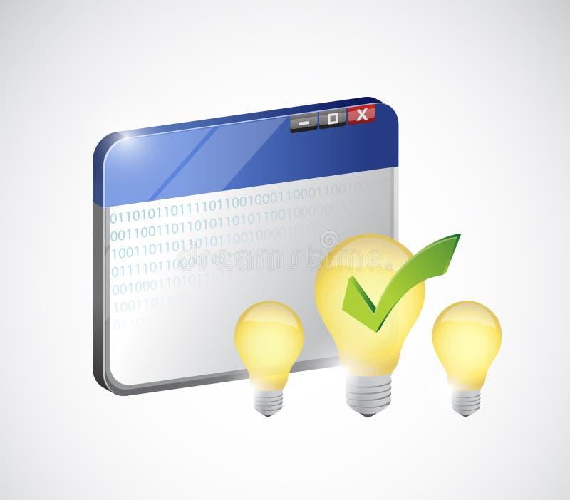 idea luminosa sul web Concetto di affari del Internet illustrazione vettoriale