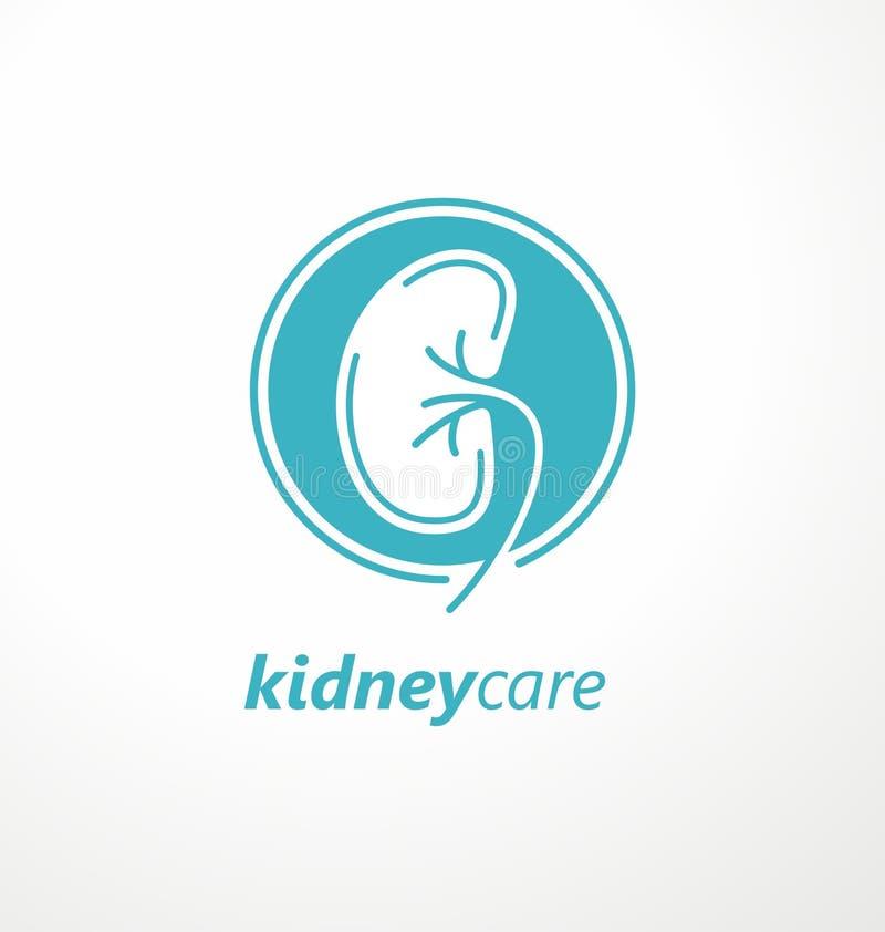 Idea médica del diseño del logotipo del cuidado del riñón ilustración del vector