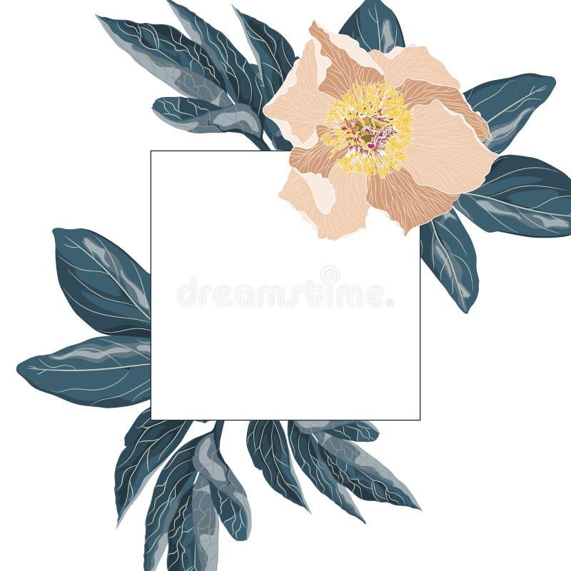 Idea mínima creativa del verano Ramas de hoja de palma rosadas verdes Fondo exótico tropical con el espacio vacío para el texto libre illustration