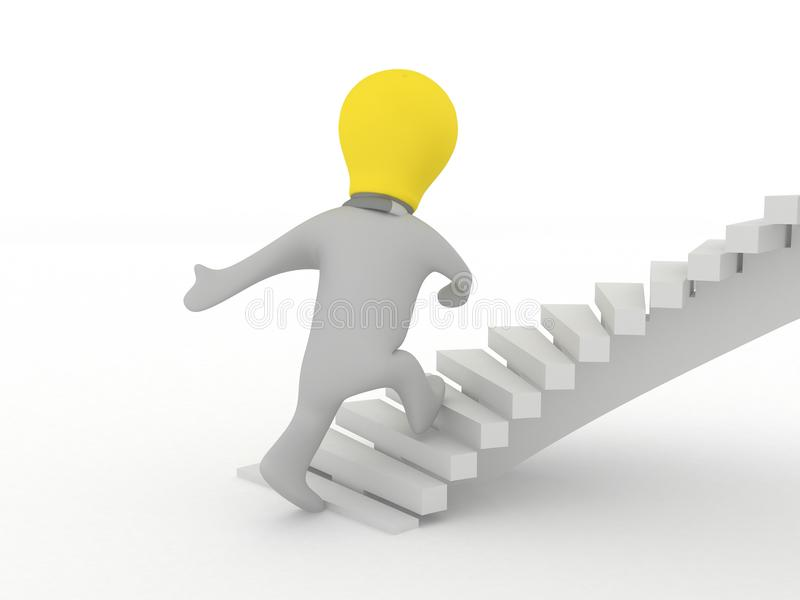 Idea Man Walking Up Stairs Stock Images