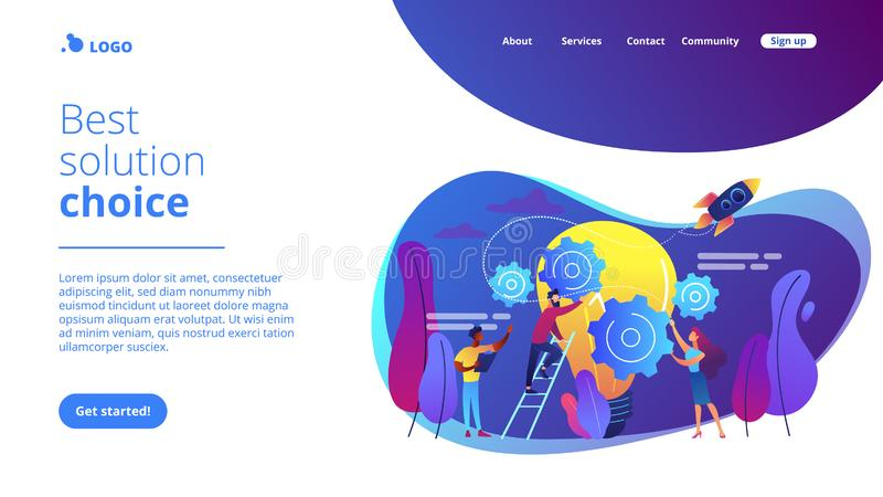Idea management concept landing page. Tiny business people generating ideas and holding gears at big light bulb. Idea management, alternative thinking, best stock illustration
