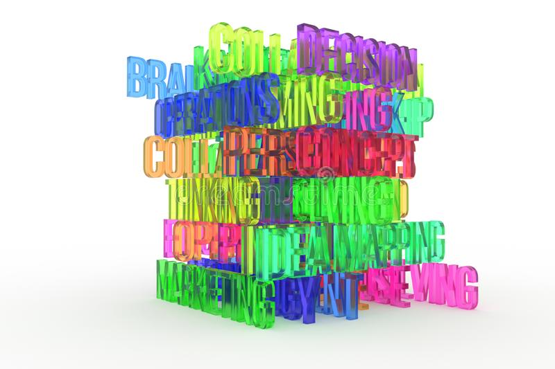 Idea mapping, Concept, business conceptual colorful 3D rendered words. Caption, web, backdrop & text. Idea mapping, Concept, business conceptual colorful 3D royalty free illustration