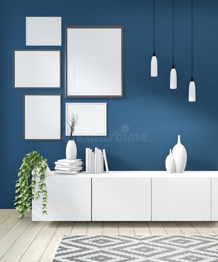 Mock up idea of mock up poster frame and cabinet zen style on room modern japanese style.3D rendering vector illustration