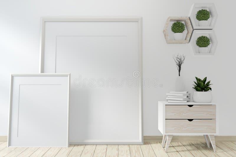 Mock up idea of mock up poster frame and cabinet zen style on room modern japanese style.3D rendering vector illustration