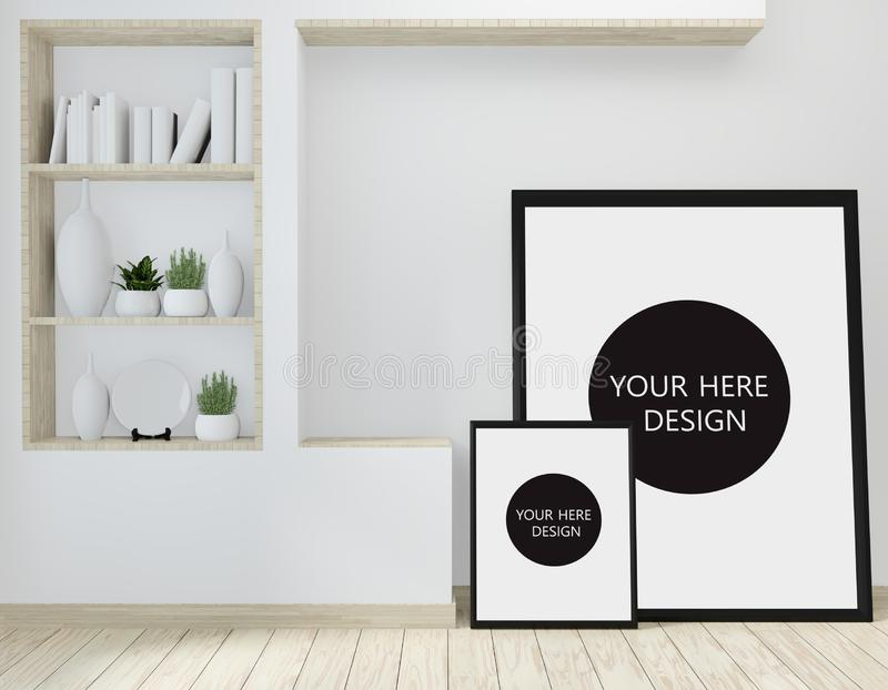 Mock up idea of mock up poster frame and cabinet zen style on room modern japanese style.3D rendering stock illustration