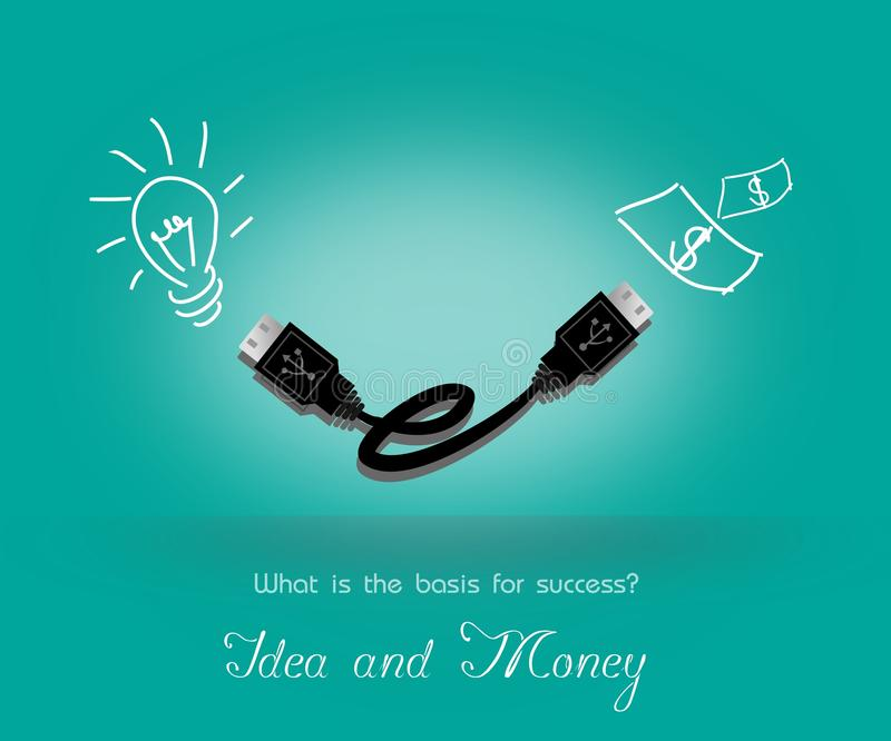 Idea and Money. Bulb and money connected with USB cable stock illustration