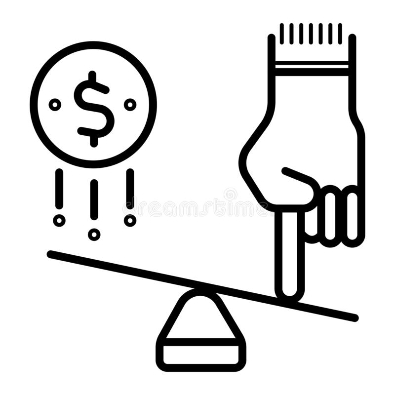 Idea and money on scales. Icon royalty free illustration