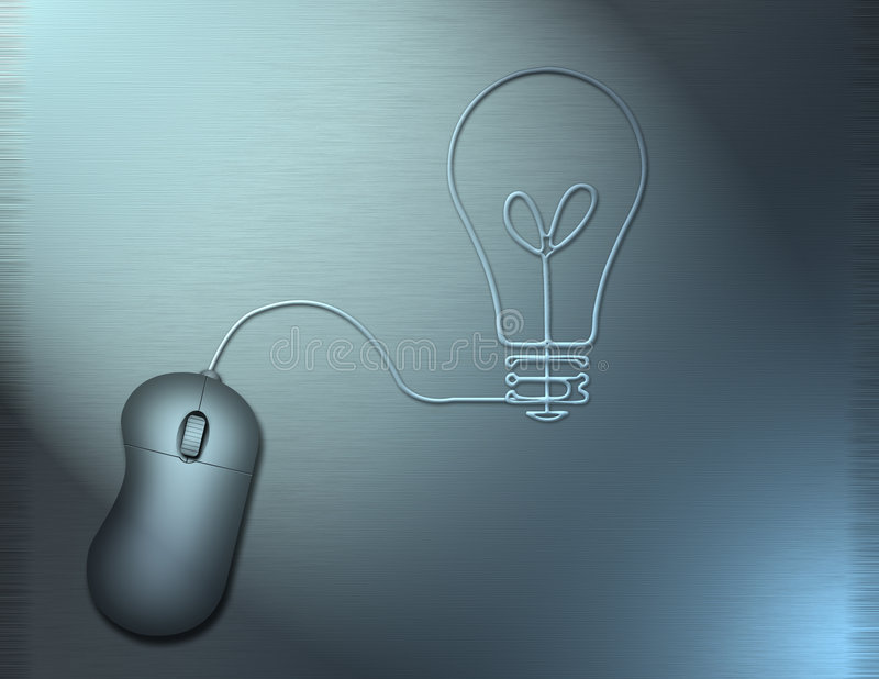 Idea Mouse. A computer mouse wire turns into the shape of a lightbulb stock illustration