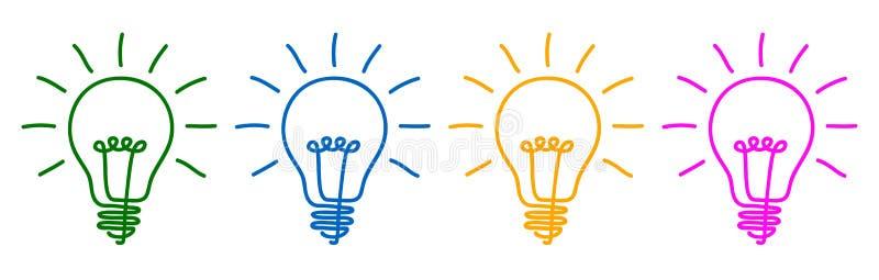 Idea, muestra creativa del bulbo del concepto, innovaciones - para la acción ilustración del vector