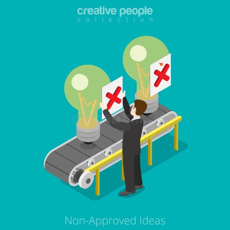 Idea no-aprobada isométrica plana del negocio 3d libre illustration