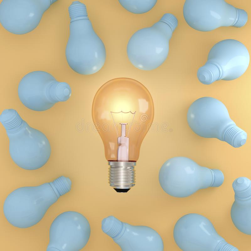 Idea outstanding Orange light bulb with glowing in middle Surrounded by blue light bulb on yellow pastel background royalty free stock images