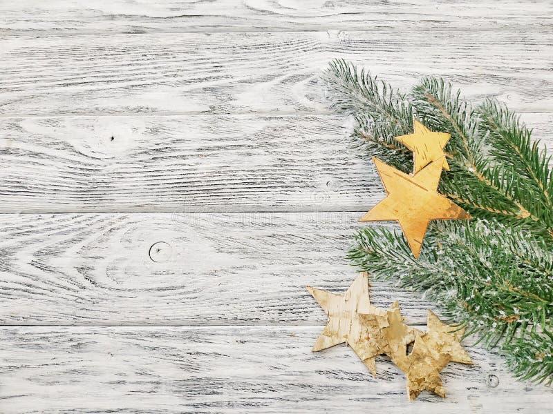 Idea para la plantilla de la Navidad o fondo de la Navidad - estrellas con las ramas del pino imagenes de archivo