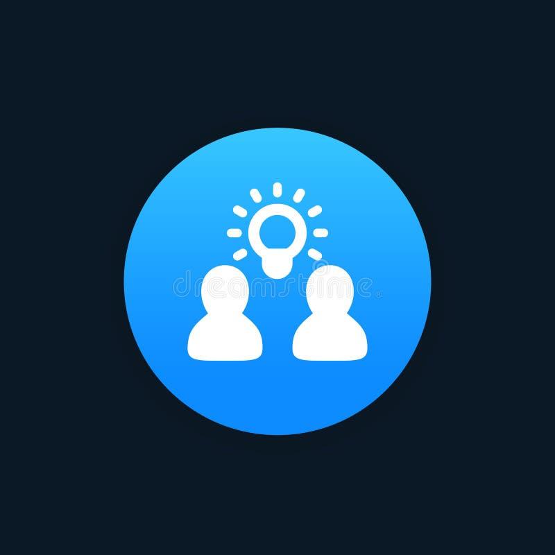 Idea, penetración, icono del vector del intercambio de ideas stock de ilustración