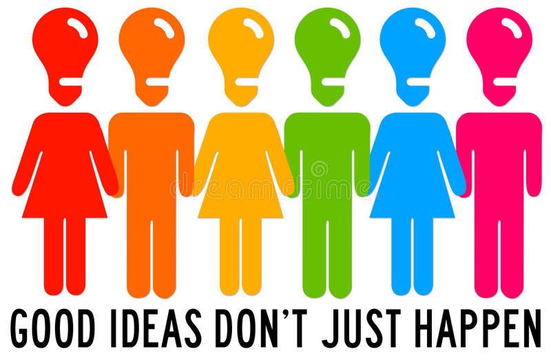 Idea people. People working hard and having great ideas stock illustration