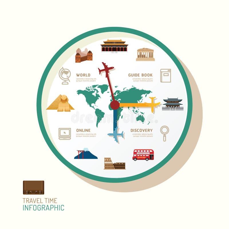 Idea plana de los iconos del reloj y del viaje de Infographic Vector Illustratio ilustración del vector