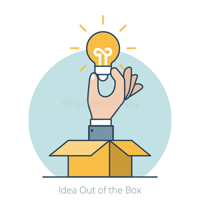 Idea plana linear del vector de la lámpara de mano del hombre de negocios hacia fuera stock de ilustración
