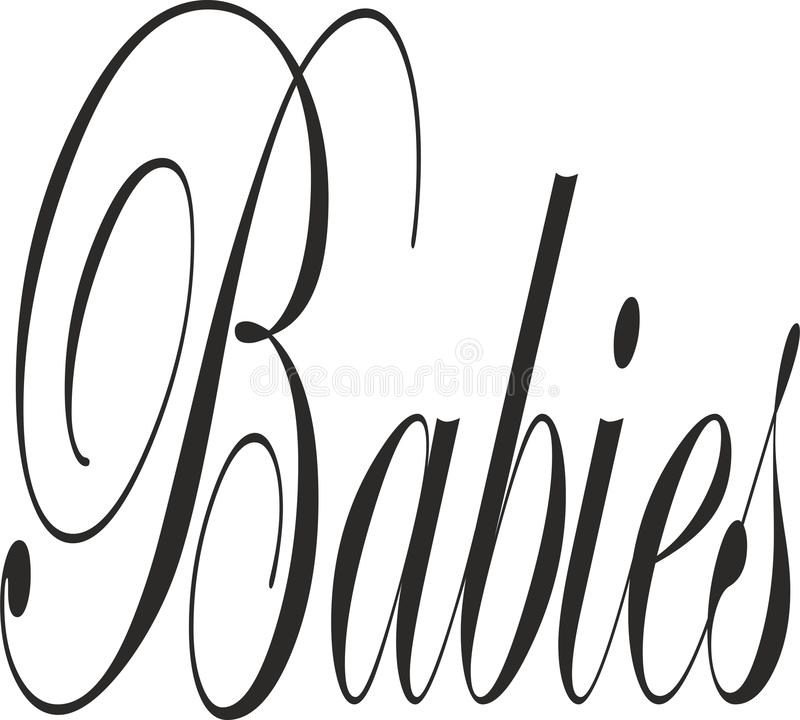 The idea for a poster of BABIES. The idea for a poster, t-shirt. Lettering poster ,different types of alphabet,handwriting ,different types of words vector illustration