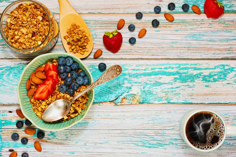 Healthy granola breakfast concept in top view royalty free stock photo
