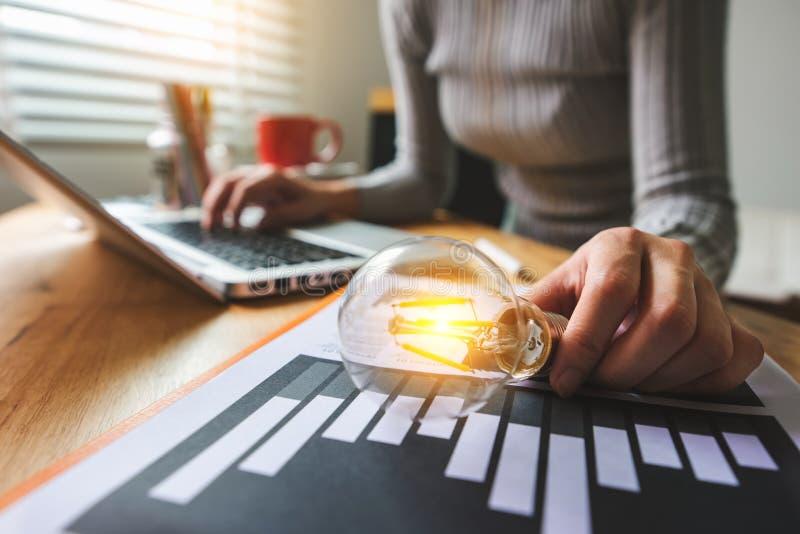 Idea saving energy and accounting finance concept stock photos