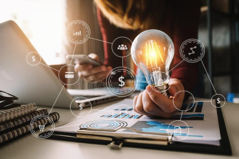 Idea saving energy and accounting finance concept royalty free stock images
