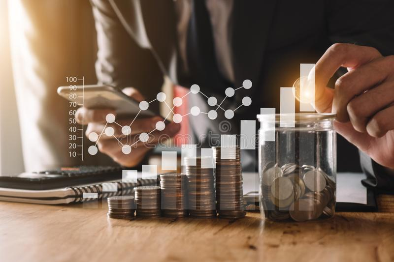 Idea saving energy and accounting finance concept royalty free stock photography