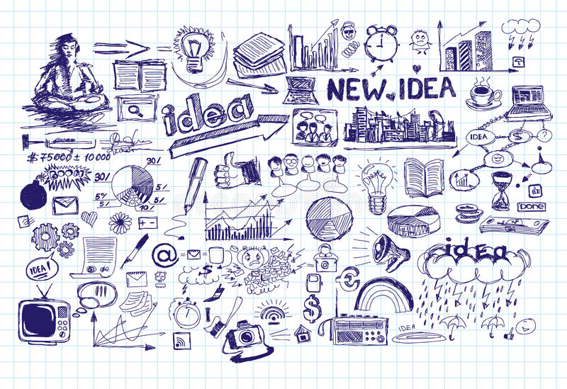Idea Sketch Background With Pen Drawn Elements. Vector idea sketch background with elements drawn with pen sketchs royalty free illustration