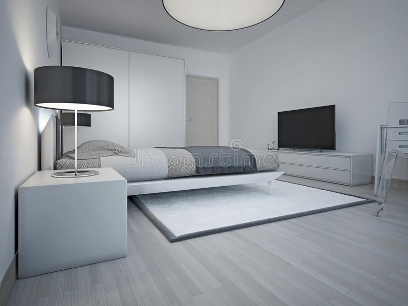 Idea of spacious modern bedroom with grey walls. Large soft double bed and strict bedside table with black shade lamp. 3D render stock photos