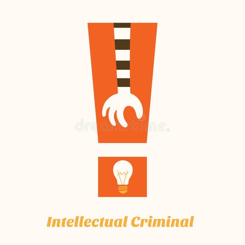 Idea stealing intellectual criminal aware. Concept royalty free illustration