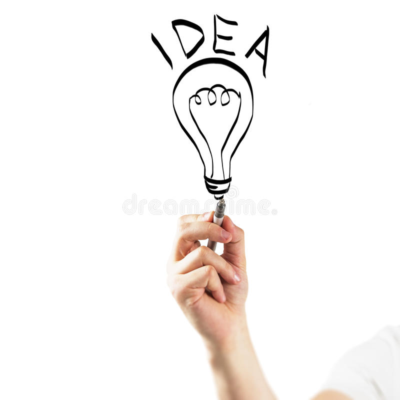 Idea symbol. Hand drawing idea concept on white background royalty free stock photos