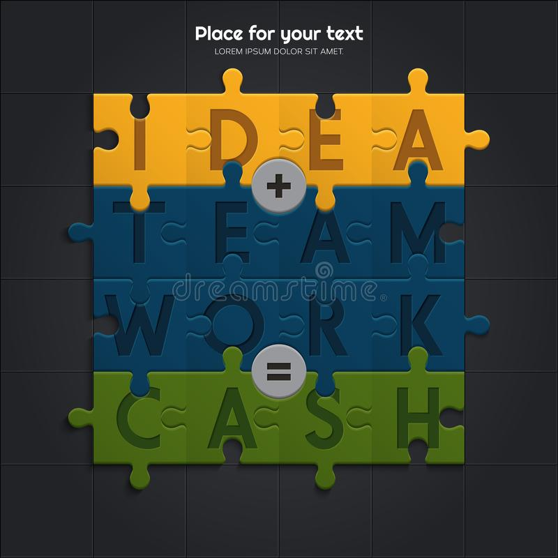 Idea and teamwork is equal to financial success. Illustration of puzzle pieces. Vector. Idea and teamwork is equal to financial success. Illustration of puzzle vector illustration