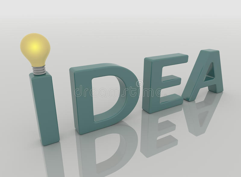 Idea Text Lamp and Light Bulb, Solution Concept. Idea text lamp with light bulb. Closeup perspective render in blue green on a reflective white floor. Solution stock illustration