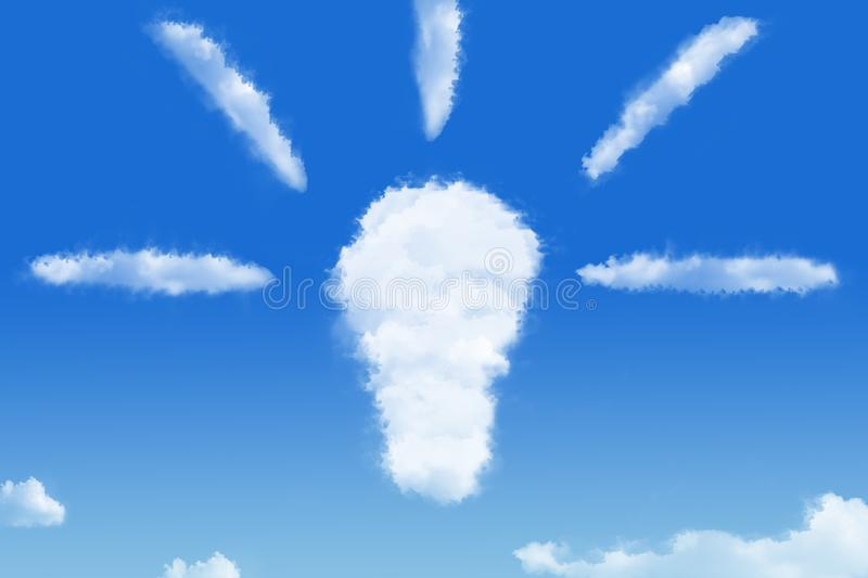 Idea thinking concept electric blub cloud in the blue sky stock images