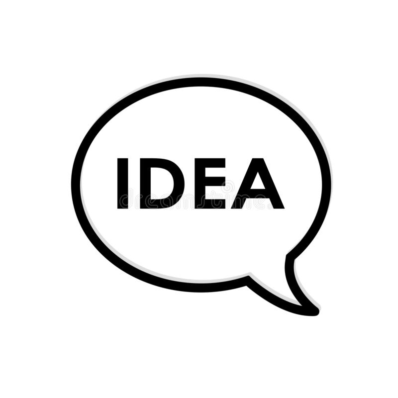 Idea in thought bubble. Black and white flat icon design. vector illustration