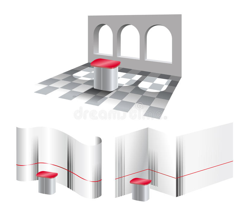 Idea of the three-dimensional exhibition stand stock image
