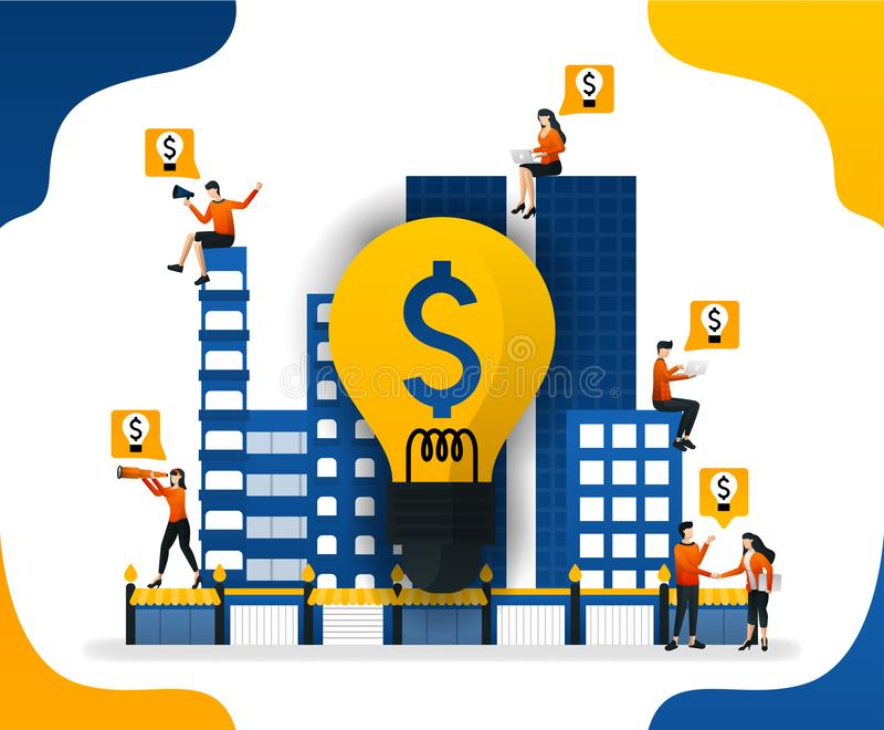 Idea to build a smart city. creating a financial system in the city, concept vector ilustration. can use for landing page, templat vector illustration