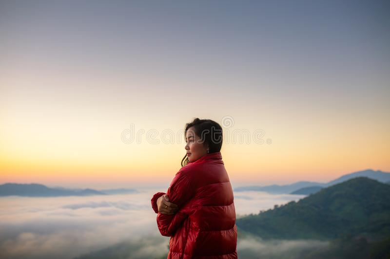 The idea to love yourself more than love others, Hiker girl wrap royalty free stock images