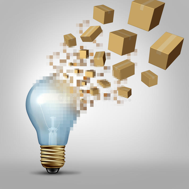 Idea To Reality. As a light bulb being digitally pixelated and the coded fragments transforming into packaged boxes of product as a business symbol for vector illustration