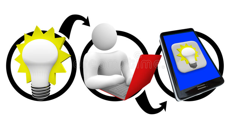 Download From Idea To Smart Phone - Create Smart Phone App Stock Illustration - Image: 17407186