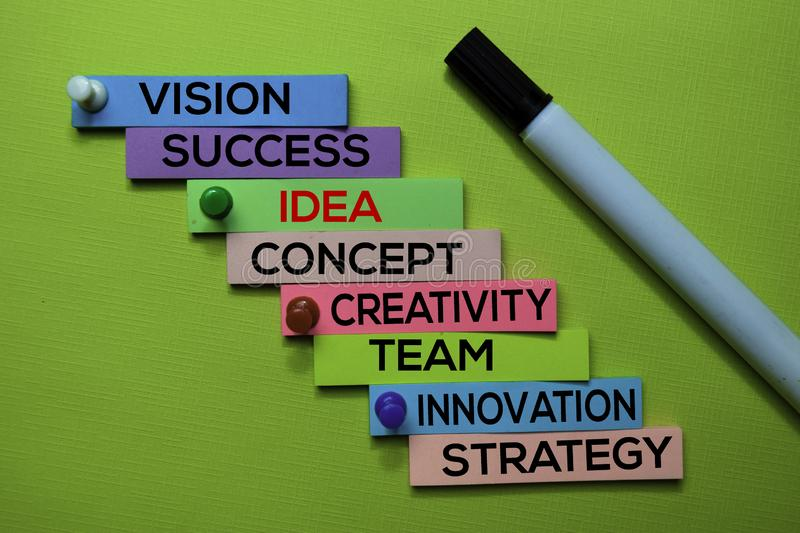 Idea, Vision, Success, Concept, Creativity, Team, Innovation, Strategy text on sticky notes isolated on green desk. Mechanism royalty free stock photography