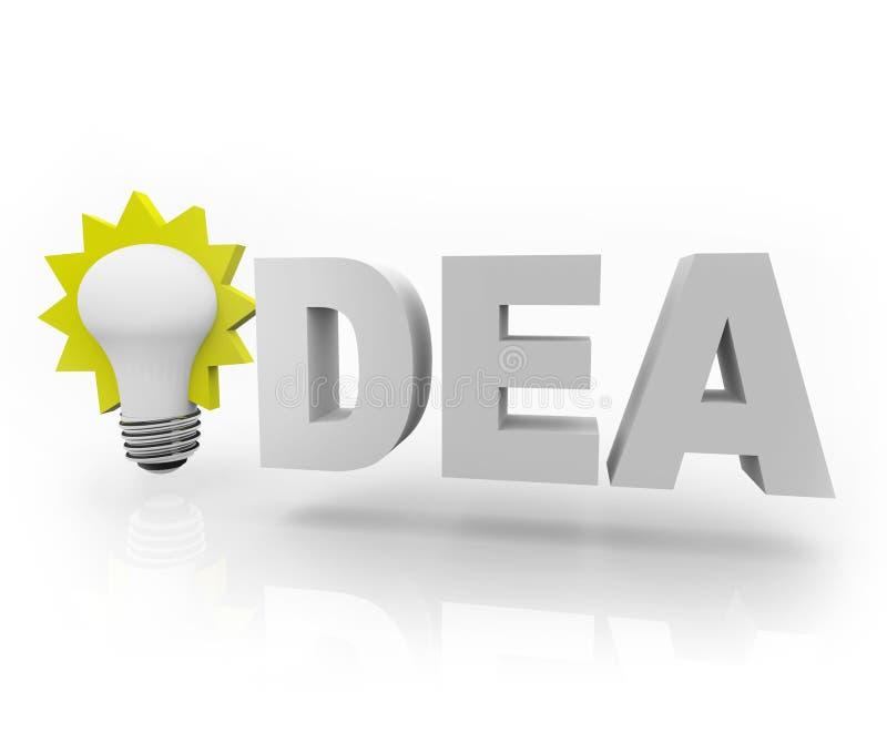 Idea Word with Light Bulb. The word Idea with an illuminated light bulb royalty free illustration