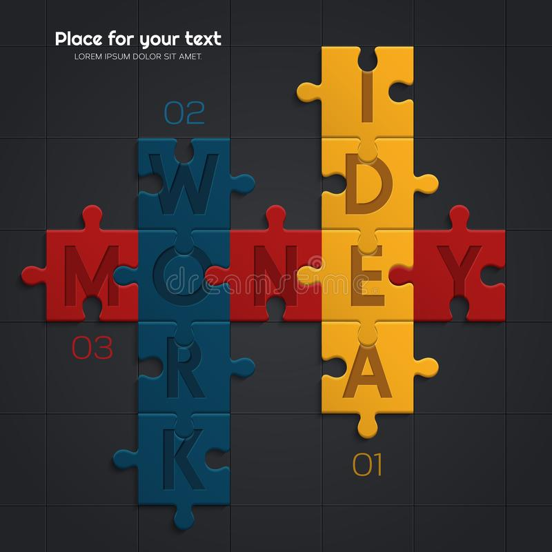 Idea and work is equal to financial success. Illustration of puzzle pieces. Vector. Idea and work is equal to financial success. Illustration of puzzle pieces royalty free illustration