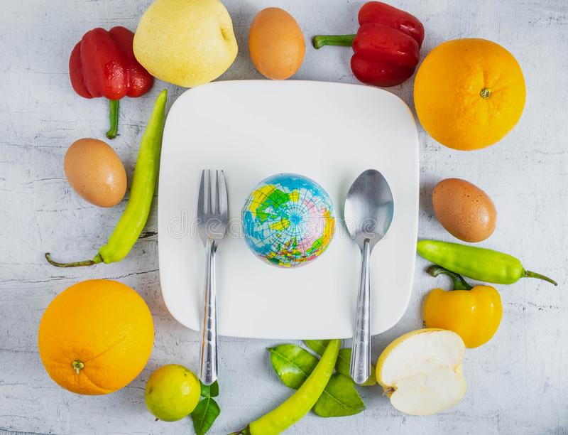 Idea World food concept. World food concept on wooden stock photography